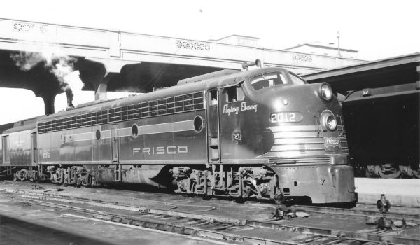 E8A 2012 (Flying Ebony) on Train #20 at Springfield, Missouri on January 25, 1953 (Arthur B. Johnson)