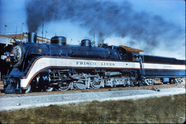 Frisco streamlined 4-6-4 1069 at Kansas City, Kansas on October 16, 1939 (E.G. Baker)