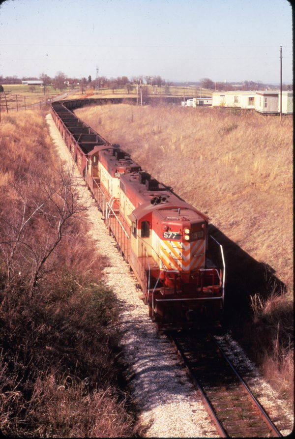 GP7 577 at Cedars, Oklahoma on April 10, 1974