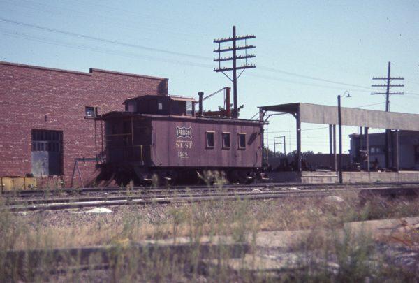 Caboose 1168 at Fayetteville, Arkansas in September 1968