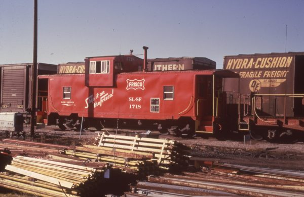 Caboose 1718 at Fort Smith, Arkansas in December 1974