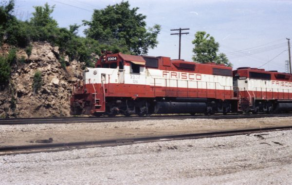 GP38-2 2304 (Frisco 449) at Thayer, Missouri in May 1982 (R.R. Taylor)