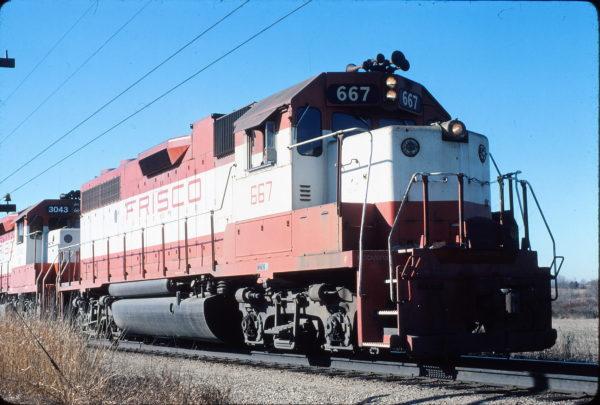 GP38-2 667 at Springfield, Missouri in January 1981 (Dan Munson)