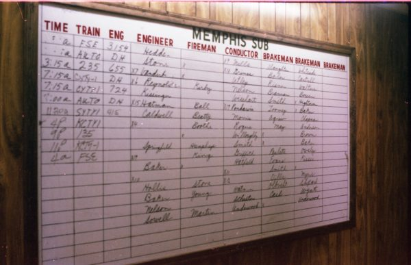 Thayer, Missouri Call Board on December 28, 1978 (R.R. Taylor)
