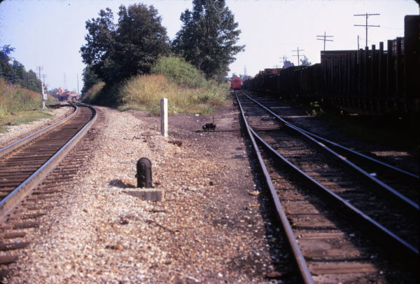 Frisco-IC Interchange at Holly Springs, Mississippi (Frisco on the left) looking south in July 1974