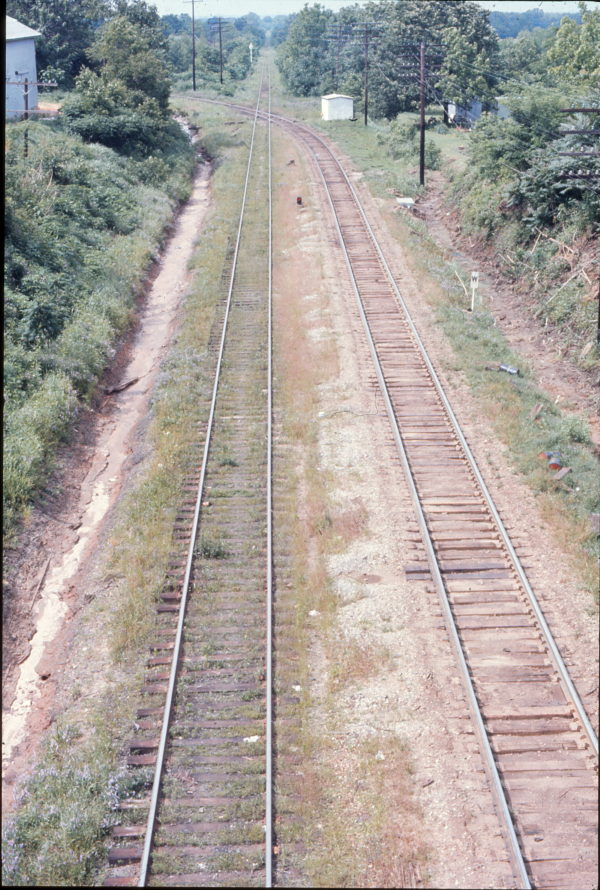 Frisco tracks (on the right) crossing the Illinois Central at Holly Springs, Mississippi (date unknown)
