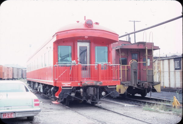 Business Car 2 and Caboose 1213 in May 1976