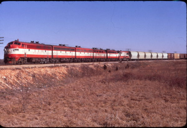 FP7 43 leads a train at Springfield, Missouri on March 18, 1972