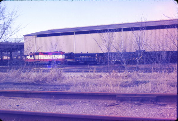 GP38AC 648 and VO-1000ms 202 and 204 at Springfield, Missouri in April 1975