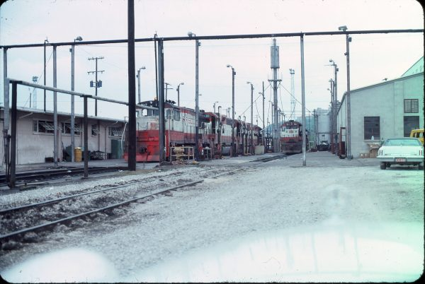 U25B 827, GP38-2 680 and SD45 911, 19th Street Engine Facility, Kansas City, MO in July 1976