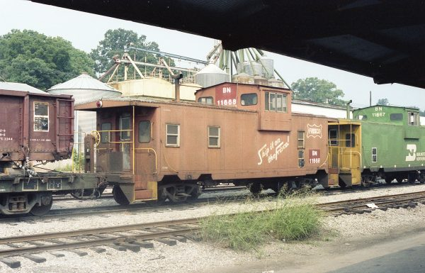 Caboose 11668 (Frisco 1438) at Thayer, Missouri on July 24, 1982 (R.R. Taylor)